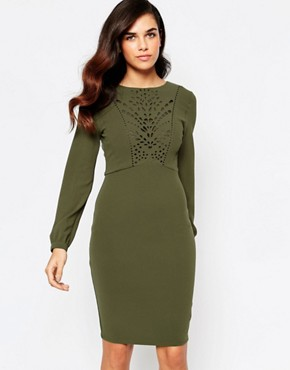 photo Taylor Lasercut Dress with Low Back by Amy Childs, color Khaki - Image 1
