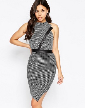 photo Tamara Asymmetric High Neck Mini Dress by Amy Childs, color Grey - Image 1