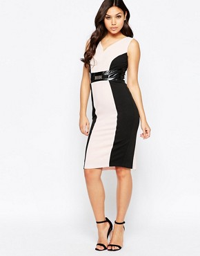 photo Valentina Pencil Dress with Contrast Panels by Amy Childs, color Pink/Black - Image 1