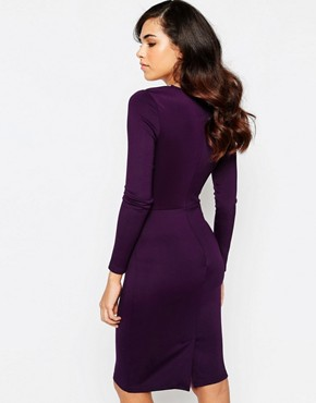 photo Camilla Midi DRess with Asymetric Mesh Panel Detail by Amy Childs, color Purple - Image 2