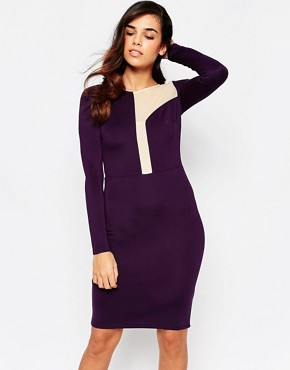 photo Camilla Midi DRess with Asymetric Mesh Panel Detail by Amy Childs, color Purple - Image 1