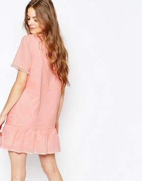 photo Cotton Voile Drop Waist Dress in Pink with Tulle Frill by Vanessa Bruno Athe, color Pink - Image 2