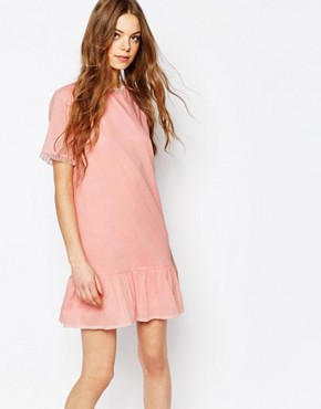 photo Cotton Voile Drop Waist Dress in Pink with Tulle Frill by Vanessa Bruno Athe, color Pink - Image 1