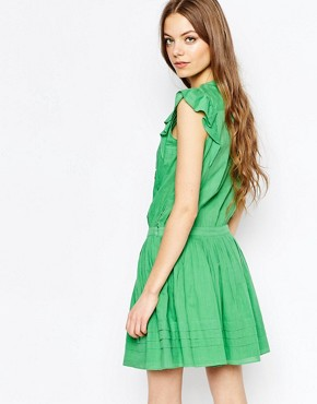 photo Sleeveless Ruffle Dress in Green by Vanessa Bruno Athe, color Green - Image 2