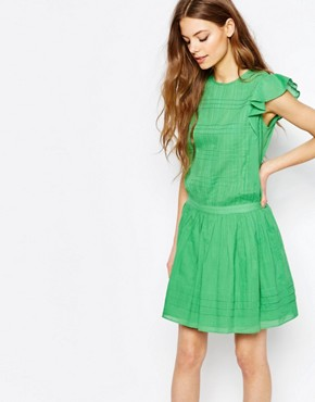 photo Sleeveless Ruffle Dress in Green by Vanessa Bruno Athe, color Green - Image 1