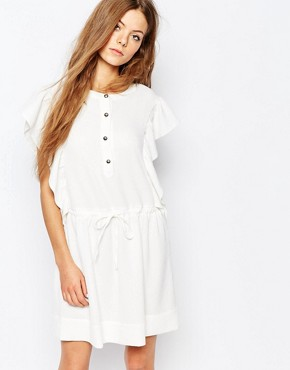 photo Ruffle Tie Waist Dress in crinkle Jacquard by Vanessa Bruno Athe, color Ivory - Image 1