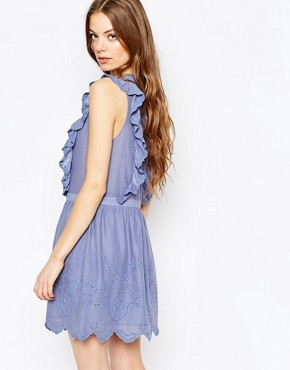 photo Ruffle Dress in Blue Broderie Anglais by Vanessa Bruno Athe, color Ocean Blue - Image 2