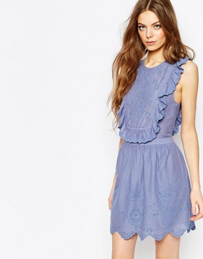 photo Ruffle Dress in Blue Broderie Anglais by Vanessa Bruno Athe, color Ocean Blue - Image 1