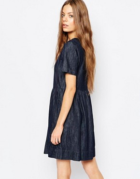 photo Dark Denim Dress with Tie Neck by Vanessa Bruno Athe, color Chambray - Image 2