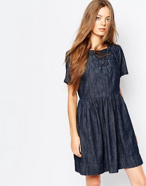 photo Dark Denim Dress with Tie Neck by Vanessa Bruno Athe, color Chambray - Image 1