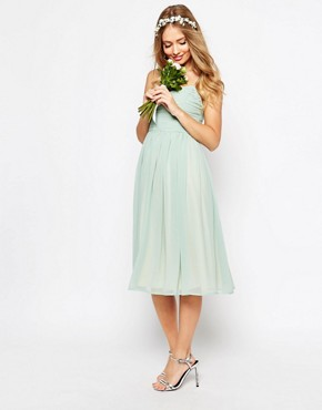 photo Rouched Midi Dress by ASOS WEDDING, color Green - Image 1