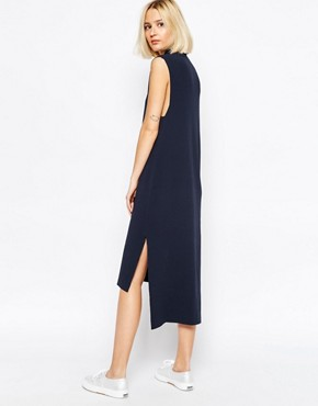 photo Knitted Clean Dress with Side Splits and High Neck by ADPT, color Navy - Image 2