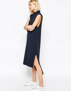 photo Knitted Clean Dress with Side Splits and High Neck by ADPT, color Navy - Image 1