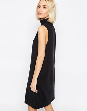 photo Longline Sleeveless Dress with High Neck by ADPT, color Black - Image 2