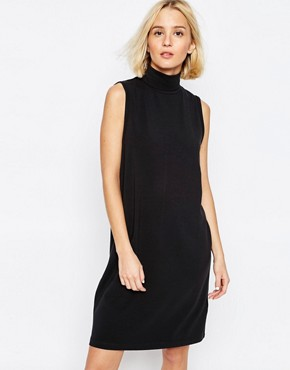 photo Longline Sleeveless Dress with High Neck by ADPT, color Black - Image 1