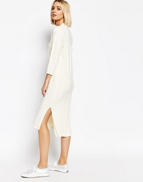photo Ribbed Knitted Dress by ADPT, color Cream - Image 2