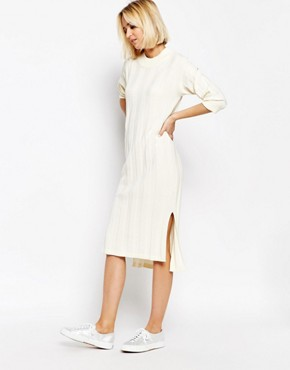 photo Ribbed Knitted Dress by ADPT, color Cream - Image 1
