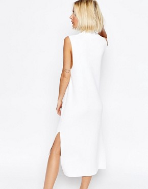 photo Knitted Clean Dress with Side Splits and High Neck by ADPT, color White - Image 2