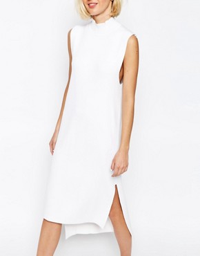 photo Knitted Clean Dress with Side Splits and High Neck by ADPT, color White - Image 3