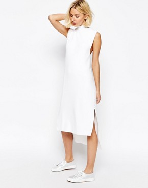 photo Knitted Clean Dress with Side Splits and High Neck by ADPT, color White - Image 4