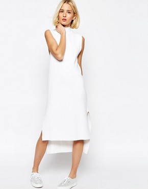 photo Knitted Clean Dress with Side Splits and High Neck by ADPT, color White - Image 1