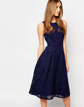 photo Lace Midi Skater Dress by Warehouse Premium, color Navy - Image 1