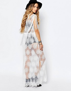 photo Sheer Lace Festival Maxi Dress by ebonie n ivory, color White - Image 2