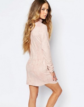 photo Mini High Neck Bodycon Dress in Suedette by ebonie n ivory, color Pink - Image 2
