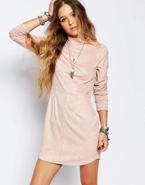 photo Mini High Neck Bodycon Dress in Suedette by ebonie n ivory, color Pink - Image 1