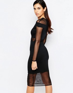 photo Mesh Insert Midi Dress by Twin Sister, color Black - Image 2