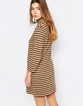 photo Mary Stripe Dress in Tannin by Wood Wood, color Tannin Stripe - Image 2