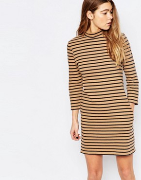 photo Mary Stripe Dress in Tannin by Wood Wood, color Tannin Stripe - Image 1