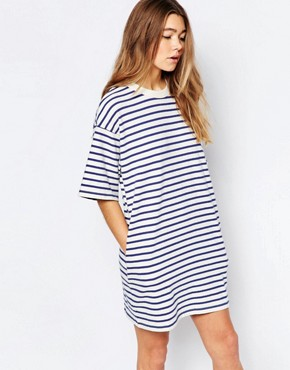 photo Jean Stripe Dress by Wood Wood, color Blue Stripe - Image 1