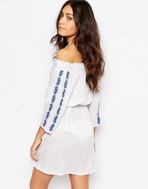 photo Embriodered Bardot Beach Dress by Akasa, color White/Blue - Image 2