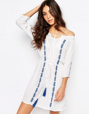 photo Embriodered Bardot Beach Dress by Akasa, color White/Blue - Image 1