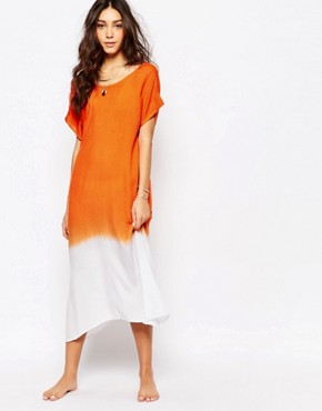 photo Ombre Low Back Beach Dress by Akasa, color Coral Ombre - Image 2