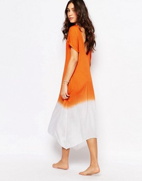 photo Ombre Low Back Beach Dress by Akasa, color Coral Ombre - Image 1