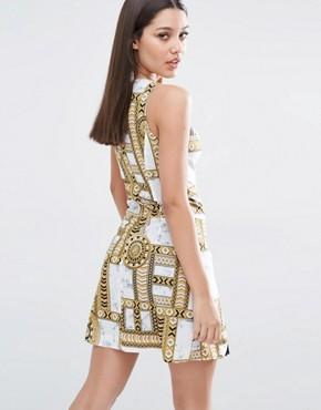 photo Medal Print Dress with Pleat Detail Hem by Versace Jeans, color White - Image 2