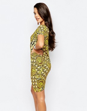 photo Tiger & Sun Print Bodycon Dress by Versace Jeans, color Yellow - Image 2