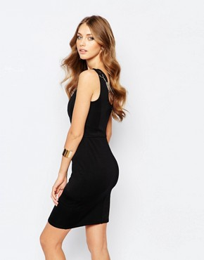 photo Bodycon Dress with Harness Neck Detail by Versace Jeans, color Black - Image 2