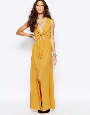 photo Bow Front Maxi Dress by WYLDR, color Yellow - Image 1