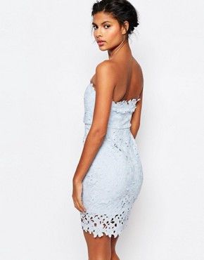 photo Cut Work Lace Bandeau Mini Bodycon by WYLDR, color Pale Blue - Image 2