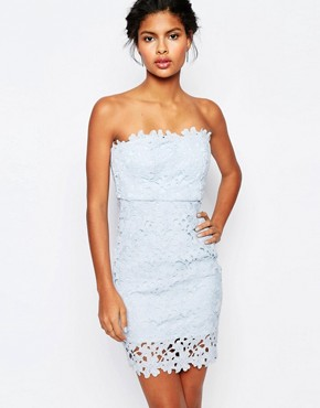 photo Cut Work Lace Bandeau Mini Bodycon by WYLDR, color Pale Blue - Image 1
