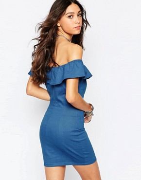 photo Off Shoulder Denim Bodycon Dress by WYLDR, color Blue - Image 2