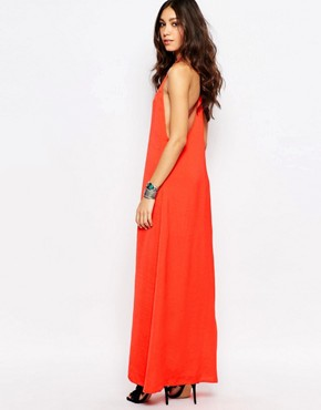 photo Slinky High Neck Backless Maxi by WYLDR, color Red - Image 2