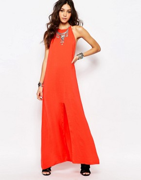 photo Slinky High Neck Backless Maxi by WYLDR, color Red - Image 1