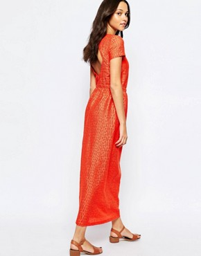 photo Open Back Maxi Dress in Red by Sessun, color Mandarin Red - Image 1