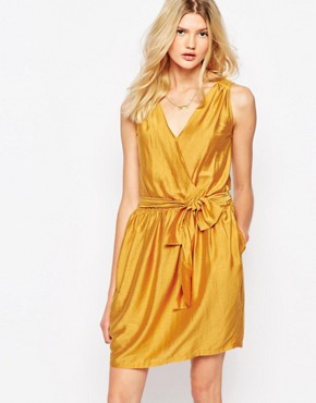 photo Wrap Mini Dress in Mustard by Sessun, color Yellow - Image 1