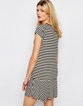 photo Drop Waist Mini Dress in Stripe by Sessun, color Black Stripe - Image 2