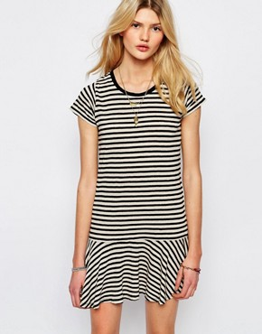 photo Drop Waist Mini Dress in Stripe by Sessun, color Black Stripe - Image 1
